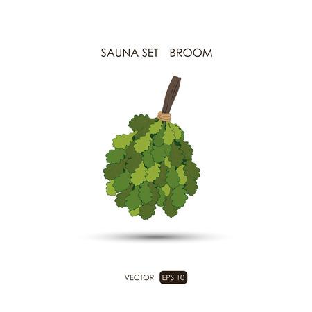 finnish bath: Broom. Sauna accessories on a white background. ?athroom items. Vector illustration Illustration