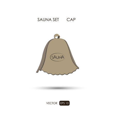 finnish bath: Cap. Sauna accessories on a white background. ?athroom items. Vector illustration