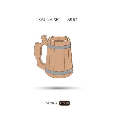 sauna: Mug. Sauna accessories on a white background. ?athroom items. Vector illustration Illustration