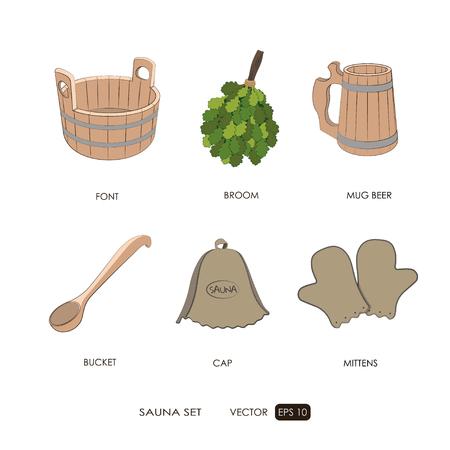 finnish bath: Sauna set. Sauna accessories on a white background. ?athroom items. Bath collection. Vector illustration