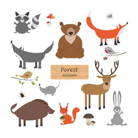 cartoon berries: Forest animals in cartoon style on white background. Forest animals set. Wildlife collection. Vector illustration