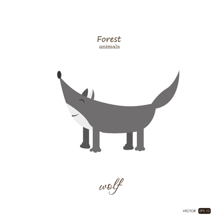Wolf in cartoon style on white background. Forest animals. Vector illustration
