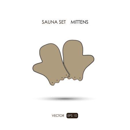 finnish bath: Mittens. Sauna accessories on a white background. ?athroom items. Vector illustration