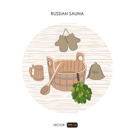 finland sauna: Sauna set. Sauna logo on a white background. ?athroom items. Bath collection. Vector illustration