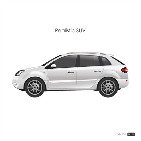 crossover: Realistic model of SUV on white background. Detailed drawing of an SUV. Vector illustration.