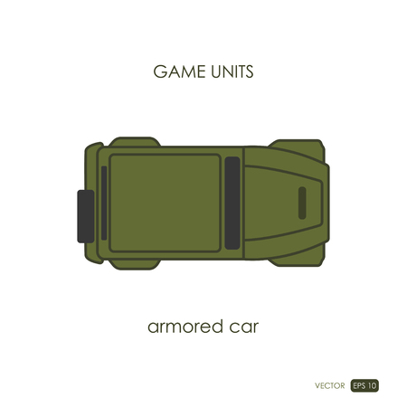 armored: Armored car on white background. Military icon. Game unit. Vector illustration