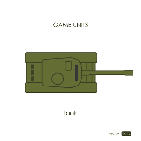 top gun: Tank on white background. Military icon. Game unit. Vector illustration Illustration