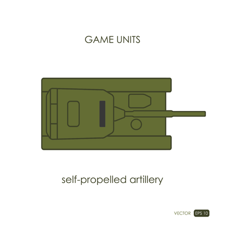 the unit: Self-propelled artillery on white background. Military icon. Game unit. Vector illustration