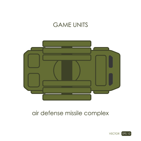 Air defense missile on white background. Anti-aircraft. Military icon. Game unit. Vector illustration