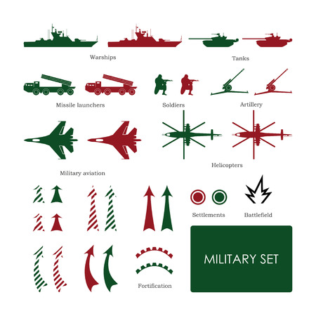 fortification: Military set for tactical map with detailed icons. Vector illustration