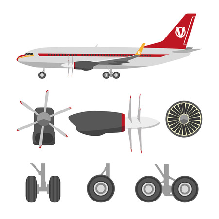 jets: Jets constructor. Flat icons aircraft parts. Collection of symbols for the repair of aircraft. Vector illustration