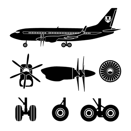 turbojet: Jets constructor. Black silhouettes aircraft parts. Collection of symbols for the repair of aircraft. Vector illustration