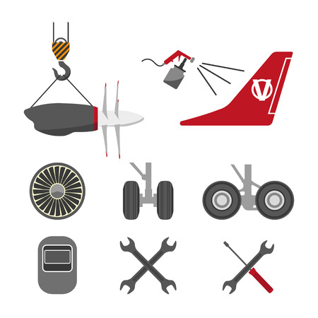 keel: Set of aircraft parts on white background. Flat vector icons set. Aircraft repair. Vector illustration
