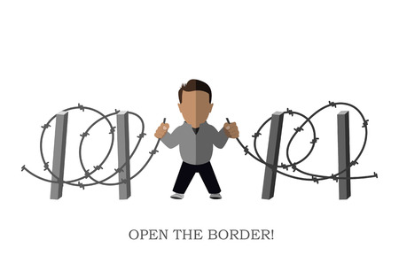refugee: Poster Open the border!. Silhouette of a refugee on a white background. Vector illustration
