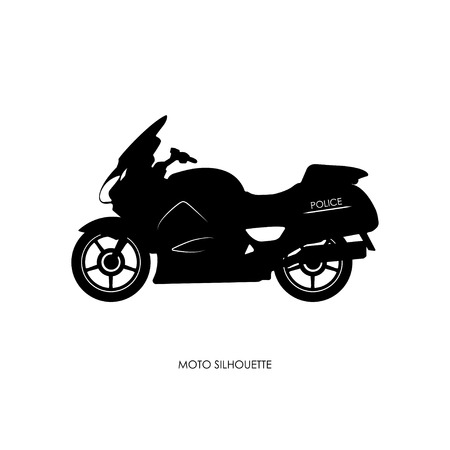 a white police motorcycle: Black silhouette of a police motorcycle on a white background. Vector illustration
