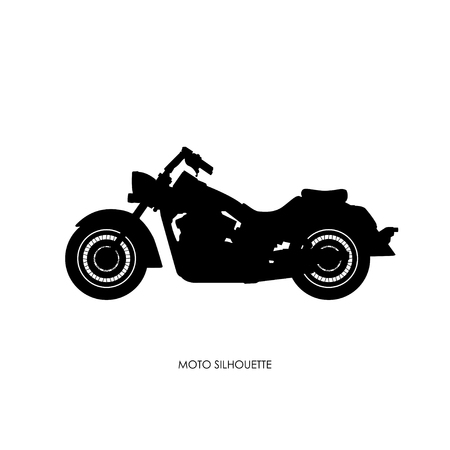 Black silhouette of a heavy motorcycle on a white background. Vector illustration