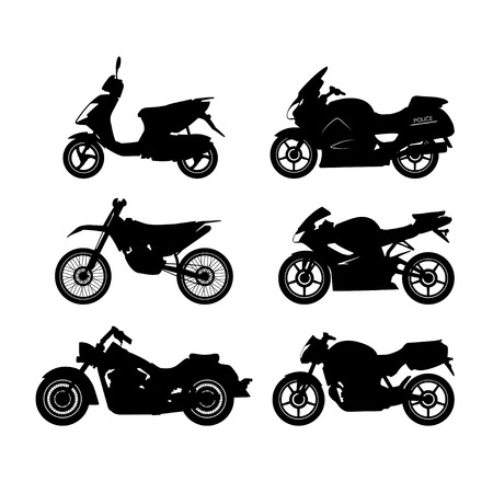 Set of black silhouettes of motorcycles on a white background. Vector illustration Stock Illustratie