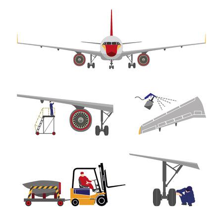 Reparación y mantenimiento de aeronaves. Conjunto de piezas de aviones en el estilo plano sobre fondo blanco. ilustración vectorial