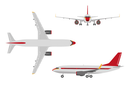 airport cartoon: Drawing plane in a flat style on a white background. Top view, front view, side view. Vector illustration