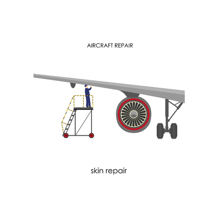 inspection: Inspection of the aircraft. Repair and maintenance aircraft. Vector illustration