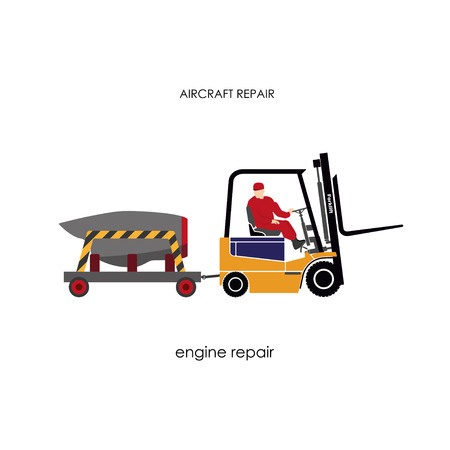 transporting: Forklift transporting engine aircraft for repair. Repair and maintenance aircraft. Vector illustration