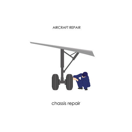 apparel part: Engineer reconditioning chassis. Repair and maintenance aircraft. Vector illustration