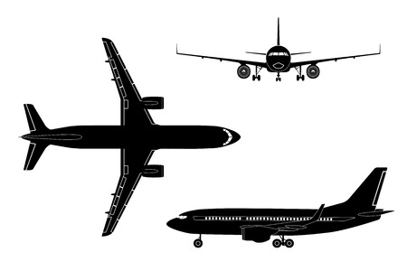 Black airplane silhouette on a white background. Top view, front view, side view. Vector illustration