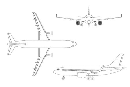 Outline drawing plane in a flat style on a white background. Top view, front view, side view. Vector illustration