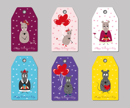 many coloured: Many coloured vector tags mice Valentines day
