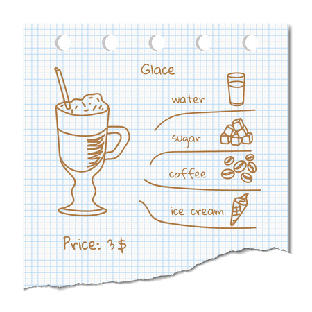 glace: Vector illustration coffee drink recipe Glace