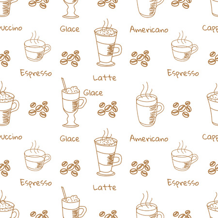 glace: Vector white seamless pattern with coffee drink