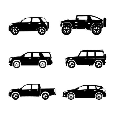 coches silueta en negro sobre fondo blanco. Vector conjunto SUV Ilustración de vector