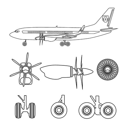 jets: Jets constructor. Outline silhouettes aircraft parts. Collection of symbols for the repair of aircraft. Vector illustration