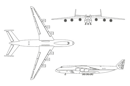 undercarriage: Outline drawing plane in a flat style on a white background. Top view, front view, side view. Vector illustration