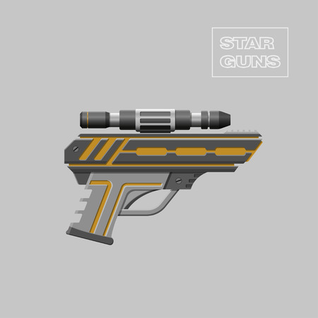 Star guns. Video game weapon. Virtual reality device. Pistol. Vector illustration Illustration