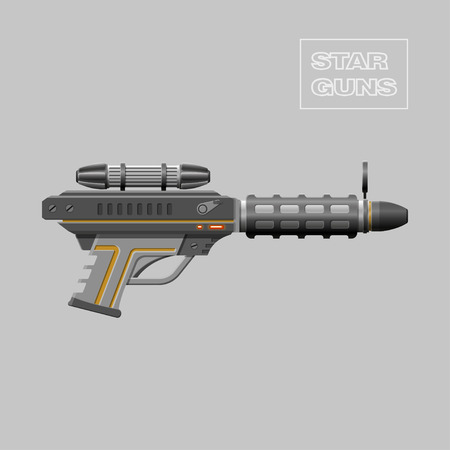 Star guns. Video game weapon. Virtual reality device. Rifle. Vector illustration Illustration