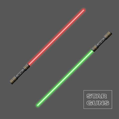Star guns. Video game weapon. Virtual reality device. Light swords. Vector illustration Illustration