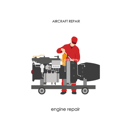 Repair and maintenance aircraft. Mechanic in overalls repairing aircraft engine. Vector illustration