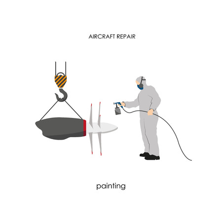 Repair and maintenance aircraft. Working paints aircraft engine. Vector illustration