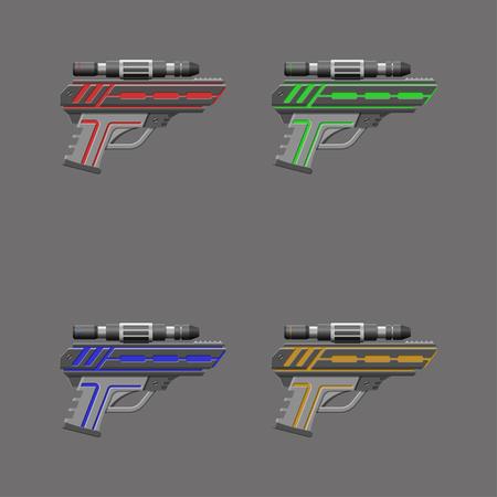 Video game weapon. Virtual reality device. Pistols set. Vector illustration Illustration