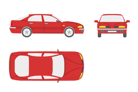 Red car on a white background . Three views : front, side , top. Vector illustration Illustration