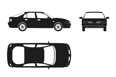 Car silhouette on a white background . Three views : front, side , top. Vector illustration