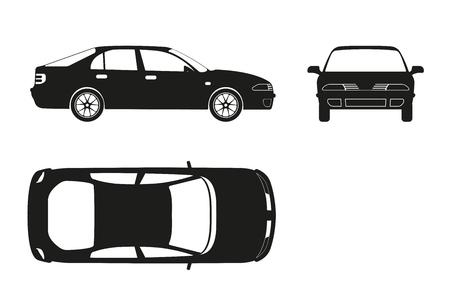 Silueta del coche en un fondo blanco. Tres vistas: frontal, lateral, superior. ilustración vectorial Foto de archivo - 60803470