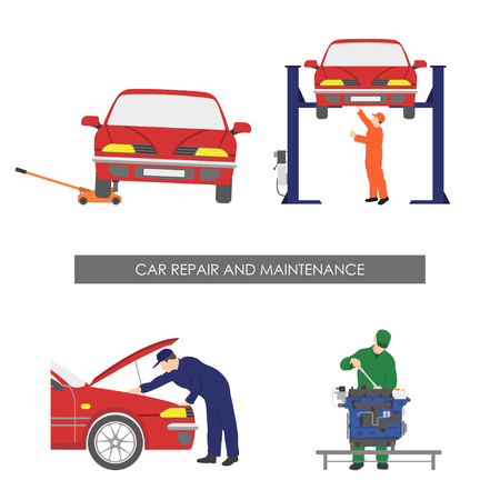Repair and car maintenance . Vehicle repair workshop. Vector illustration