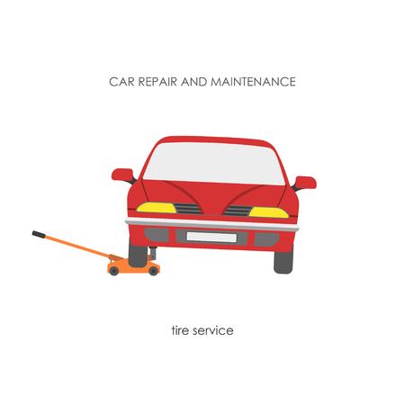hydraulic: Car raised on a hydraulic jack. Vector illustration Illustration