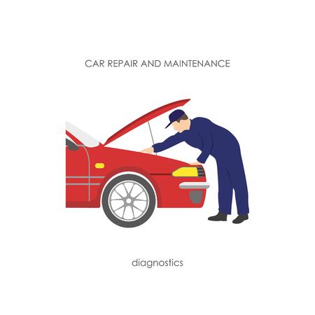 diagnostics: Mechanic produces vehicle diagnostics. Vector illustration