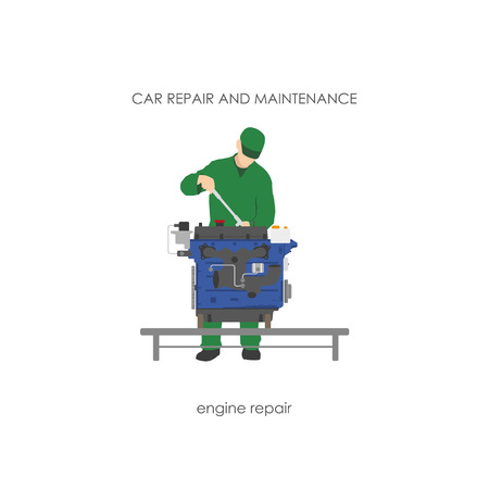overalls: Mechanic in overalls repairing car engine. Vector illustration Illustration