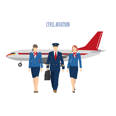 The pilot and a flight attendant on the plane background. Vector illustration