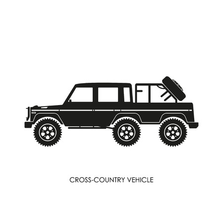 crosscountry: Silhouette of the cross-country vehicle on a white background. ATV track. Vector illustration Illustration
