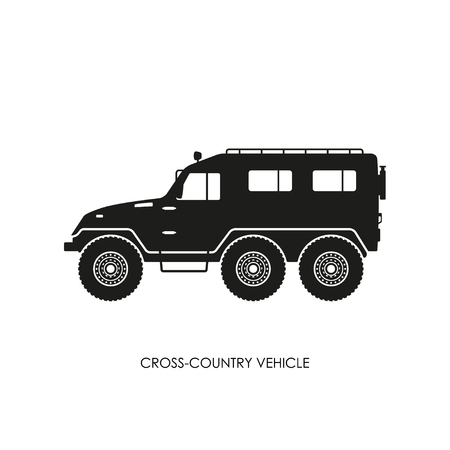 snow tires: Silhouette of the cross-country vehicle on a white background. ATV track. Vector illustration Illustration